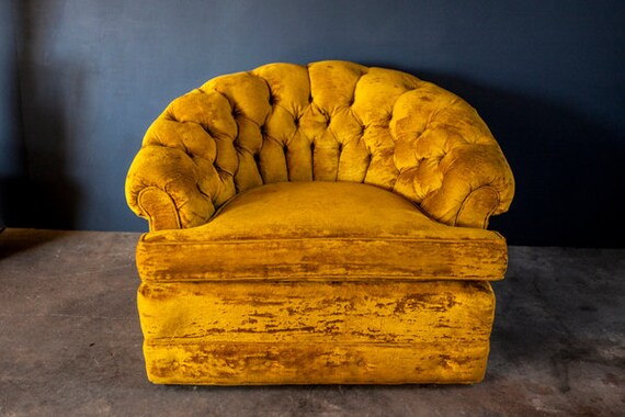 Vintage Gold Yellow Velvet Tufted Barrel Chair