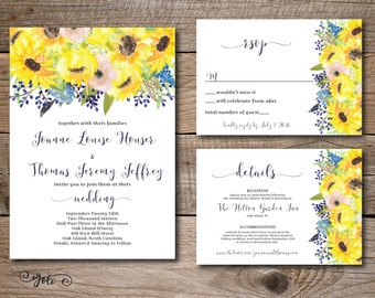 Printable Watercolor Blue and Sunflower wedding invitation, RSVP and OPTIONAL details card -print yourself- digital file