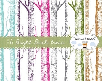 Birch Digital Paper Set,Birch Tree Digital Paper,Birch Pattern,Birch Paper,Birch Background,Winter,Tree Pattern,Birch Illustration,Clipart