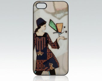 Girl iPhone 5 case, butterfly iPhone 5s cover, art iPhone 5,5s,SE case, digital painting iPhone SE case, woman iPhone 5 case