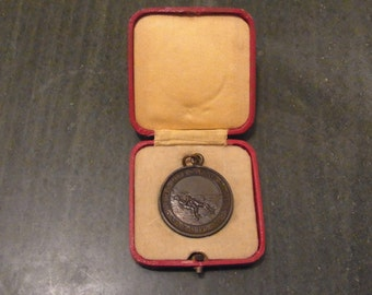 Antique Vintage Bronze Royal Life Saving Society Established 1891 - Life Saving Medallion awarded to D.A.Derrett Sept 1932