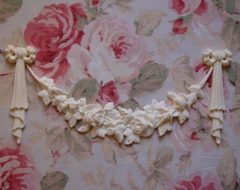 Shabby and Chic Bow/Ribbon Drops Rose Swag Set Furniture Applique Architectural Pediment Moulding Trim Embellishment