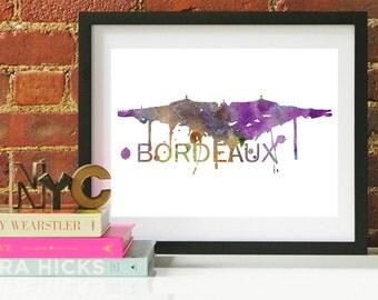 Bordeaux Art, Bordeaux Skyline, Bordeaux map, Bordeaux wall art, Bordeaux map print