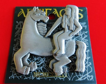 JJ Jonette Silver Pewter Lady Godiva Upon Her Trusted Steed Brooch Pin