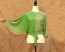1930s Inspired Green and Dots Wrap Blouse