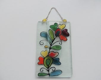 Fused glass pocket vase,painted pocket vase,gift for home, home decor wall hanging vase