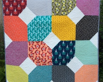 Modern Quilt | Contemporary Small Throw | Handmade Quilt | Baby Quilt | Colorful Quilt