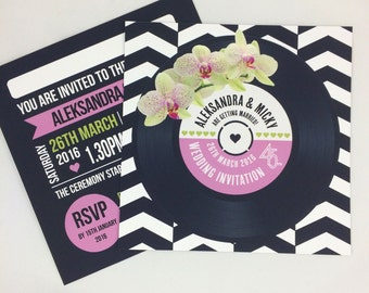 Wedding/ Party Invitations - Floral (Orchid) Vinyl Record Design x 40