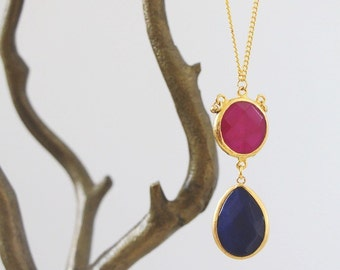 Deep Pink and Blue Pendant Necklace
