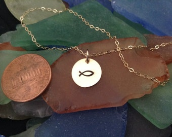 """Christian """"Fish"""" Symbol 14K Gold Filled or Sterling Silver Tiny Disc Necklace"""