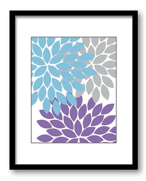 flower print blue purple grey wall art chrysanthemum flowers. Black Bedroom Furniture Sets. Home Design Ideas