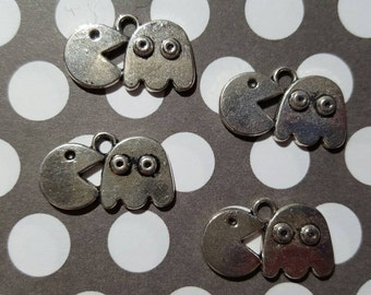 Metal Pacman and Ghost Charms- Set of 4