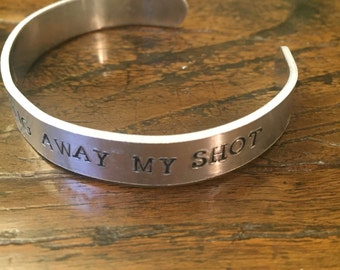 Hamilton Bracelet, Im Not Throwing Away My Shot bracelet , Broadway inspired jewelry, handstamped jewelry