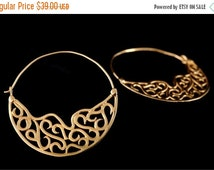Mothers Day Sale Filigree Hoop Earrings, Gold Earrings, Gypsy Earrings, Tribal Earrings, Boho Earrings, Ethnic Earrings, Tribal Belly dance
