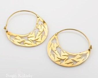 Hoop Earrings ,Boho Earrings, Gold Plated Earrings, Tribal Earrings, Gypsy Earrings, Ethnic Jewelry, Gold Earrings, Gifts For her