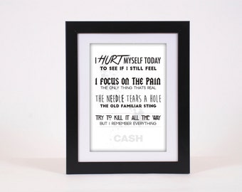 Johnny Cash Hurt Lyrics Typography Poster Print