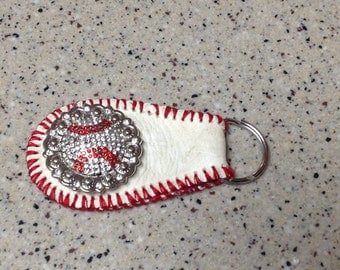 Baseball Bling Key Ring Chain. Authentic leather skin, mom, coach
