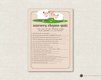 Lamb Nursery Rhyme Quiz Baby Shower Game - Sheep Nursery Rhyme Baby Shower Game, Printable Baby Shower Games, Little Lamb, Printable, DIY