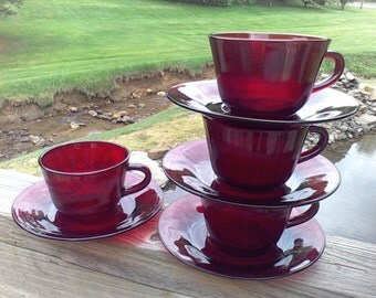 Cup and Saucer sets, Ruby Red, 4 sets, Tea set, Wedding