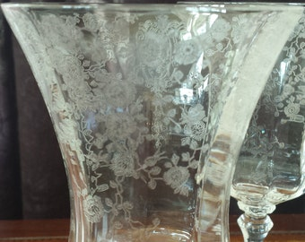 Pair 2 Rosepoint Water Goblets Antique Glasses