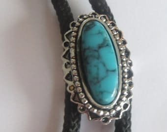 Handcrafted Southwestern Style Oblong Faux  Turquoise  Bolo Tie IC Lot 12