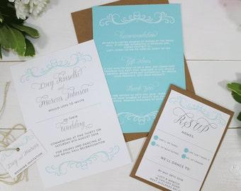 Classic Swirly Heart Wedding Invitations - Giovanna