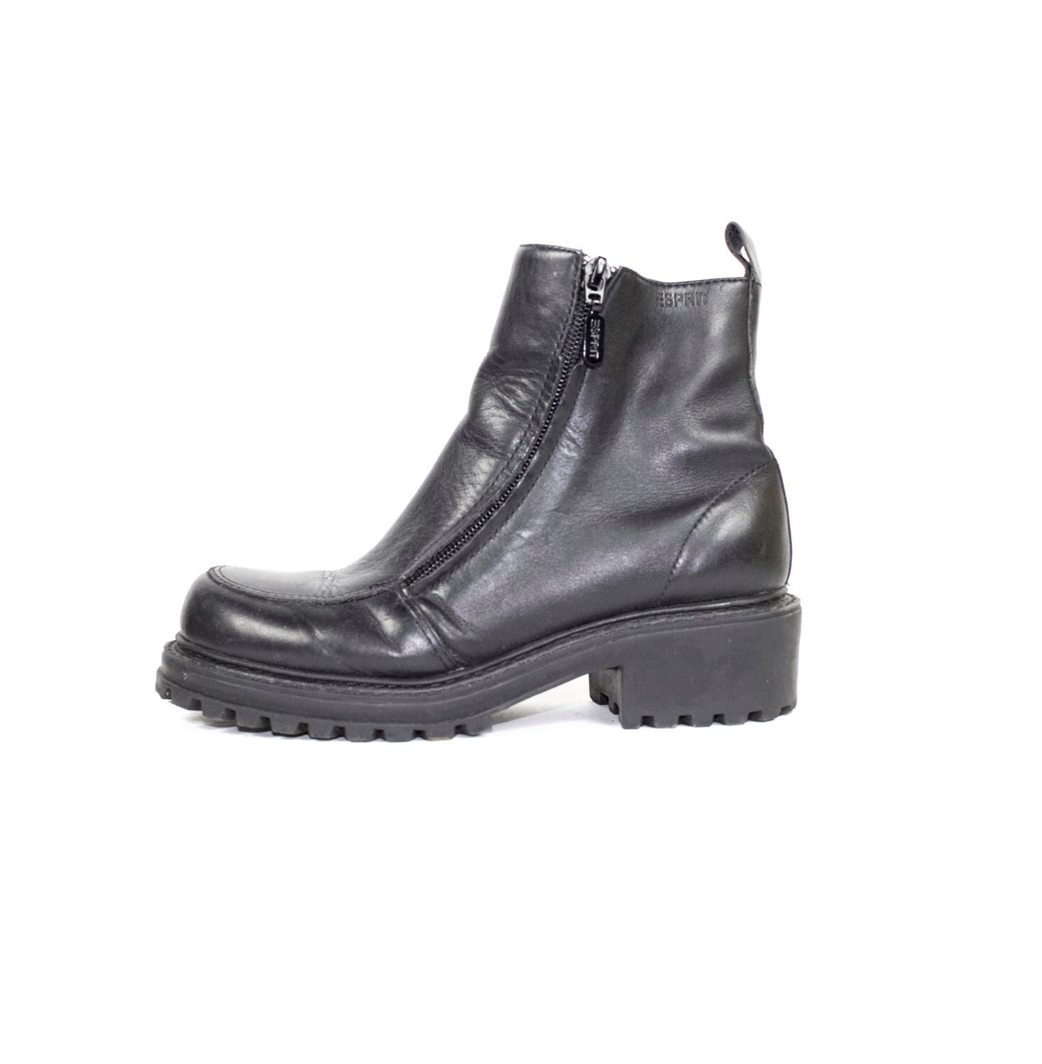 5 5 90s esprit black leather ankle boots vintage 1990s. Black Bedroom Furniture Sets. Home Design Ideas