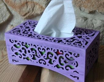 Wooden decoupaged tissue box
