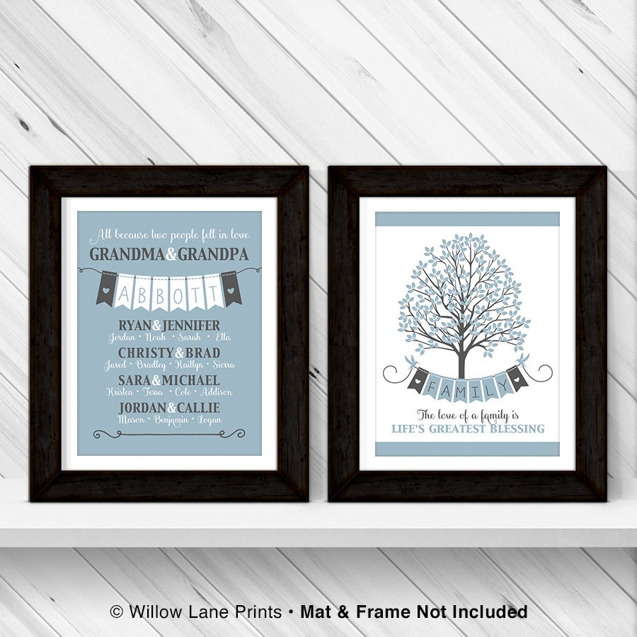 family tree wall art canvas personalized by willowlaneprints. Black Bedroom Furniture Sets. Home Design Ideas