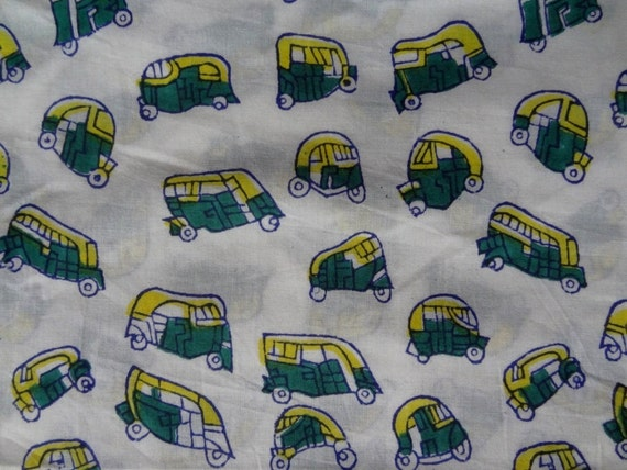 Tuk tuk print fabric by yard kids clothing indian fabric for Children s clothing fabric by the yard