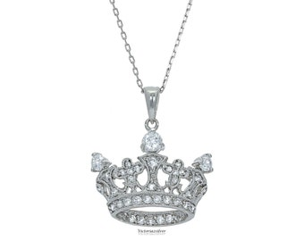 925 Sterling Silver Crown Necklace With Stones!