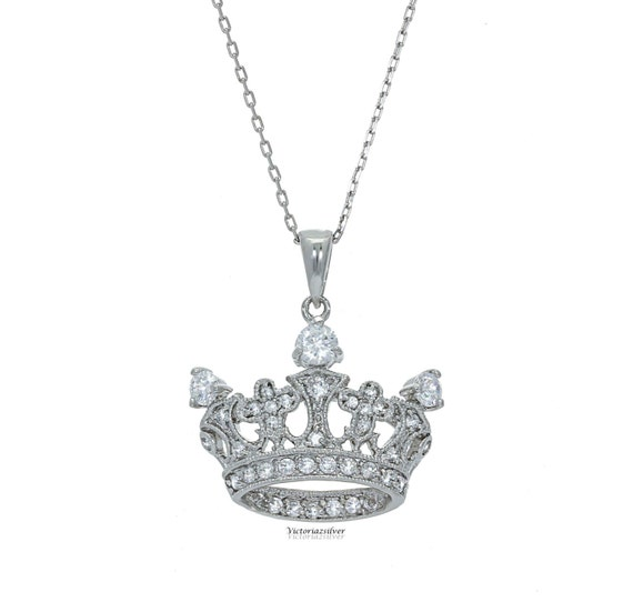 925 sterling silver crown necklace with stones