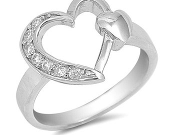 925 Sterling Silver CZ Heart Ring