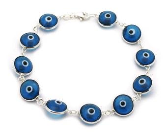 925 Sterling Silver Clear Blue Evil Eye Bracelet 7 inches Long