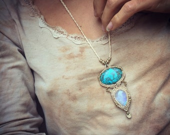 Crysocolla+moonstone pendent necklace.made by order White tunes Macrame moonstone jewelry turquoise primitive tribal craft art of goddess