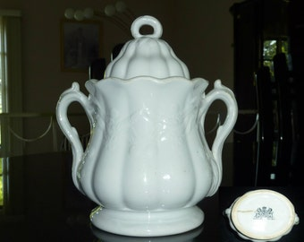 Antique English White Ironstone Sugar Bowl by Tomkinson Bro & Co 19th Century Wheat and Clover Pattern