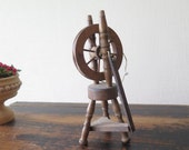 Miniature Wood Spinning Wheel, Doll House Accessories Vintage Swedish Souvenir Scandinavian @201