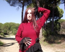 SALE Burgundy and Black Asymmetric Gothic Ruffle Top Long Sleeve Sweater Blouse Victorian Style Steampunk Drapped Top Upcycled Recycled