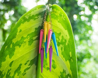 colorful spike earrings