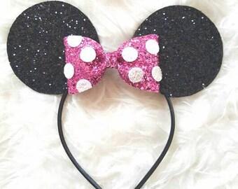 Minnie Mouse Ears Headband, Minnie Mouse Birthday, Minnie mouse headband, minnie ears