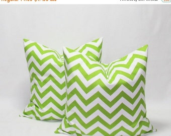 SALE Green Pillows 22 x 22 Inches Decorative Pillow Cover, Chevron Chartreuse/White Pillow Cover, Green Chevron Throw Pillows Green Cushion