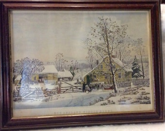 Currier and Ives New England Winter Scene. Excellent under glass. Free ship