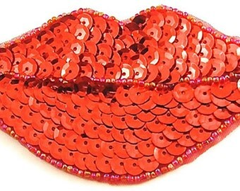 "Lips Applique, Sequin Beaded 5"" x 2""- JJ874-B131"