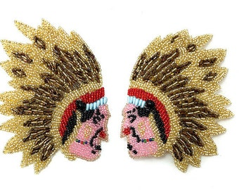 "Native American Indian Chief Pair, All Beads, 5"" x 4"" (each side)  -21199"
