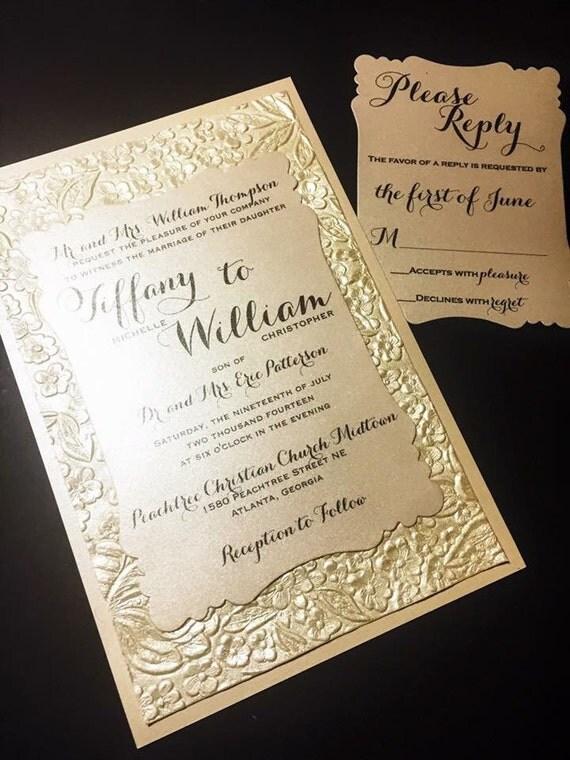 items similar to embossed wedding invitation luxury With embossed wedding invitations etsy