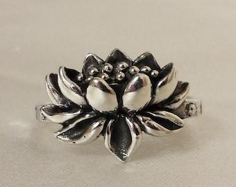 Lotus Ring, Sterling Silver lotus ring