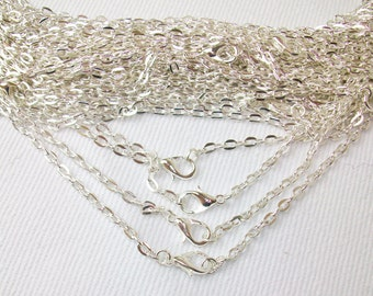50  Rolo Shiny Silver Chain Necklaces 24""