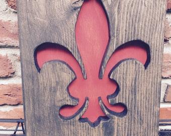 Fleur de Lis reclaimed wood  wall art