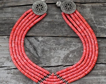 Pink coral necklace with Chepraga-clasp - Coral colar necklace - Ethnic beaded necklace