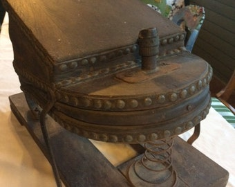Mid 1800's Antique Foot Powered Firefighter's Safety Air Supply Pump? or Ship Horn Bellows, Large Foot Bellows, Antique, Works Great,